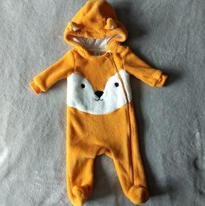 Fox Fleece Hooded Onesie * 3-6M
